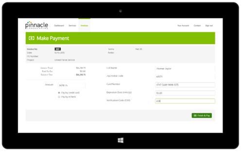 Landscaping customer portal software make payment tool