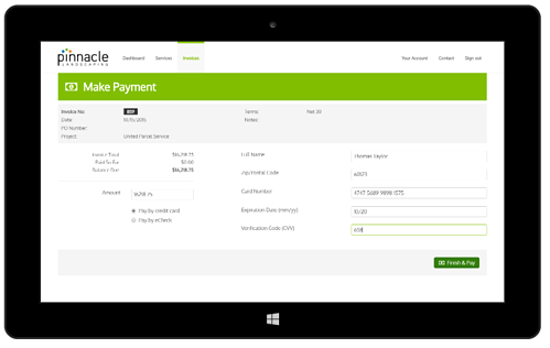Landscaping customer portal software make payment tool