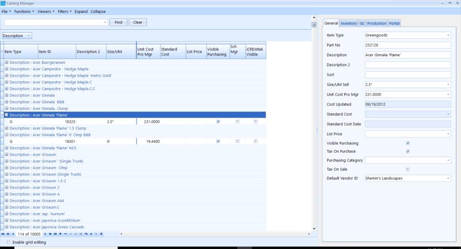 Landscape business software Asset navigation