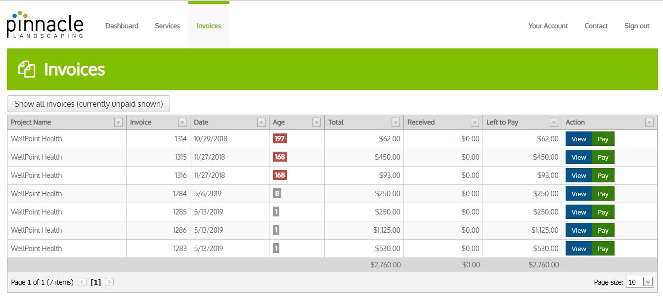 Portal Open Unpaid Invoices