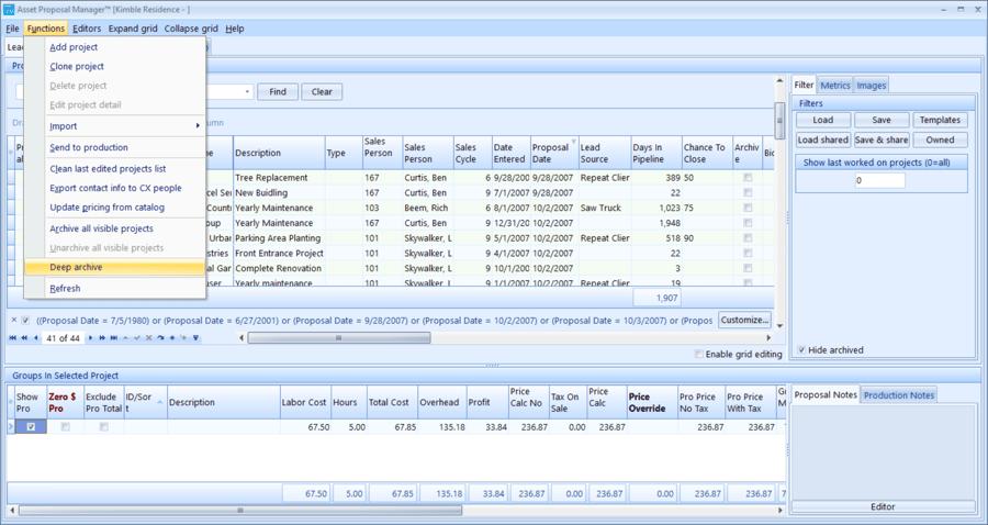 Landscape business software Asset proposal manager