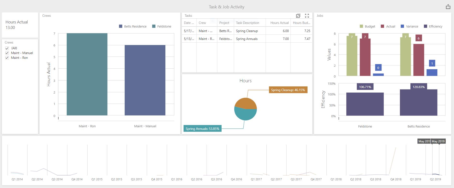 landscape business visual reporting - Task & Job Activity Budget vs Actual