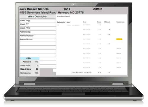 Landscaping employee timekeeping software screenshot