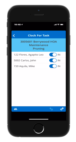 Mobile landscaping employee task tracking software
