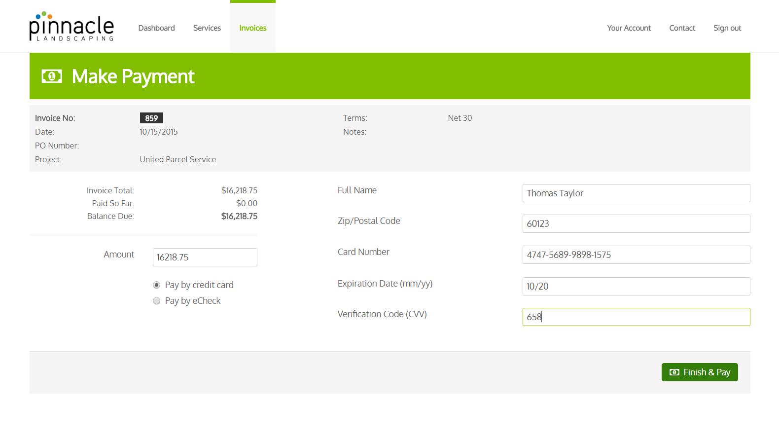 Landscaping client portal software