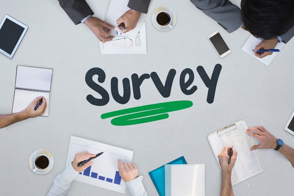 The word survey with customer survey data