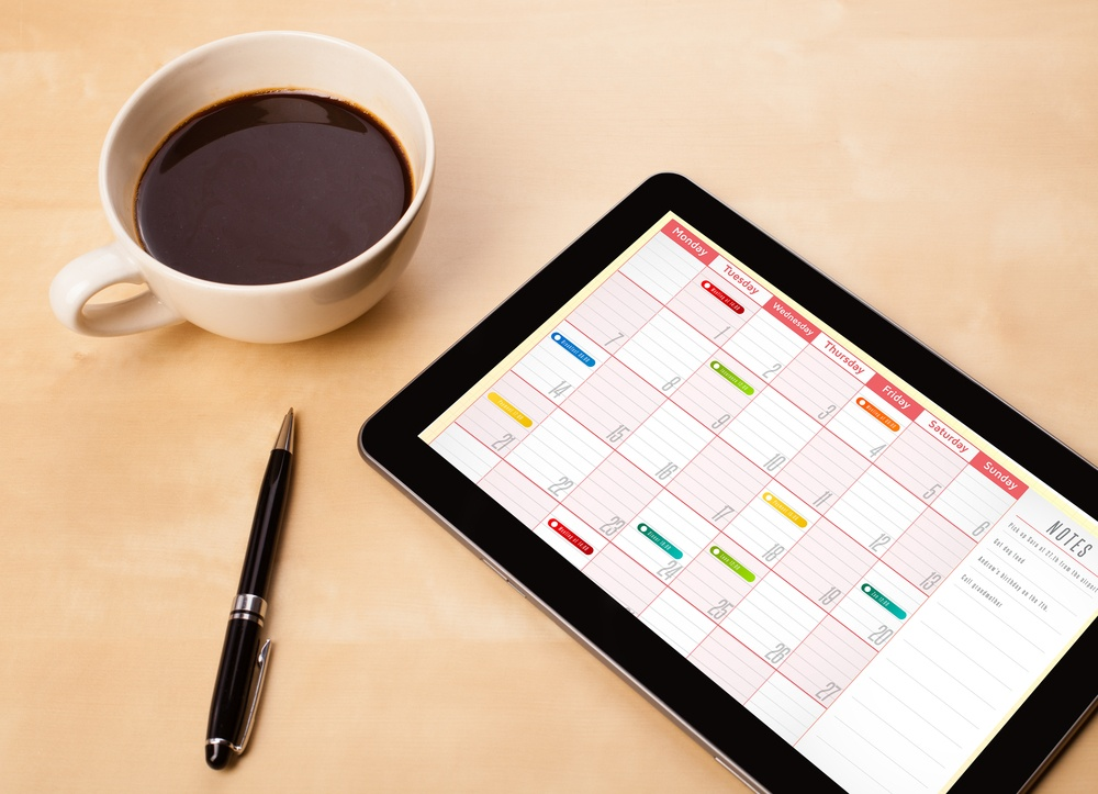 Tablet with calendar to schedule meetings
